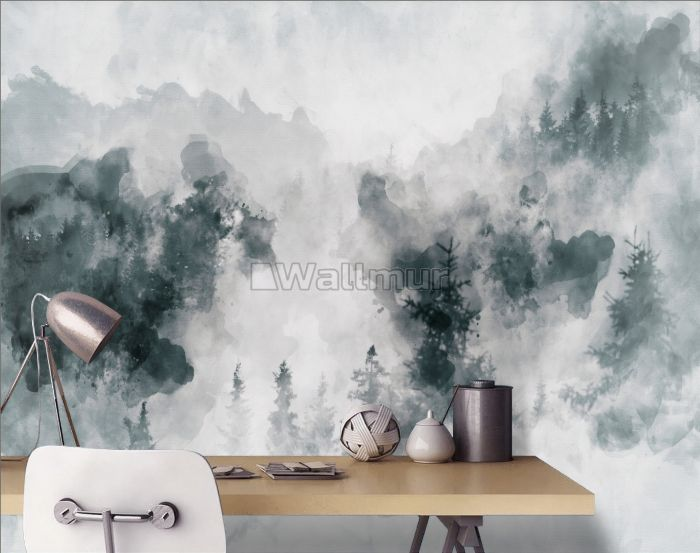 Watercolor Style Abstract Misty Dark Forest Wallpaper Mural
