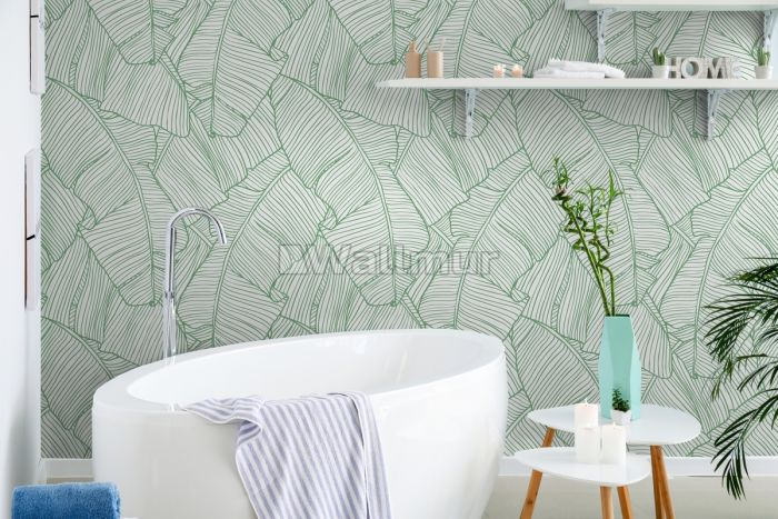 Abstract Lines Palm Leaves Wallpaper Mural