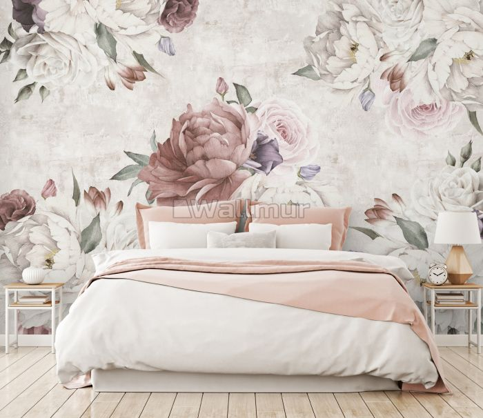 Soft Peony Floral Wallpaper Mural