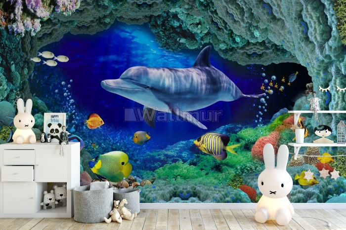 3D Look Undersea with Colorful Fish Wallpaper Mural