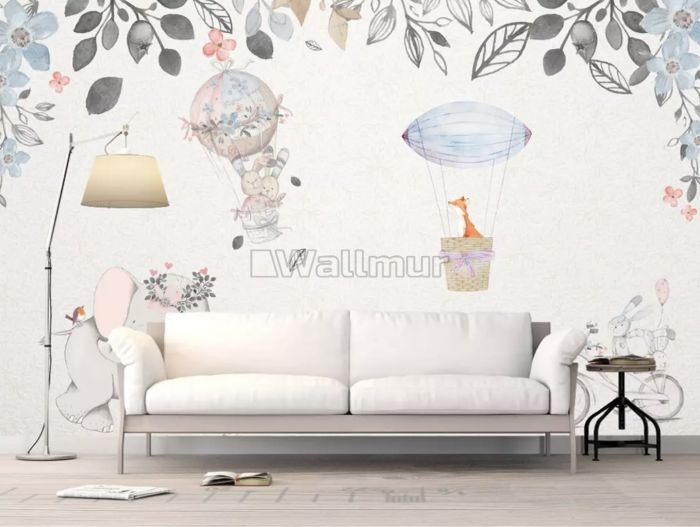 Baby Elephant with Hot air Balloons Wallpaper Mural