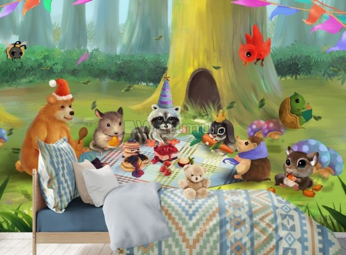 Cartoon Animals in the Forest Wallpaper Mural
