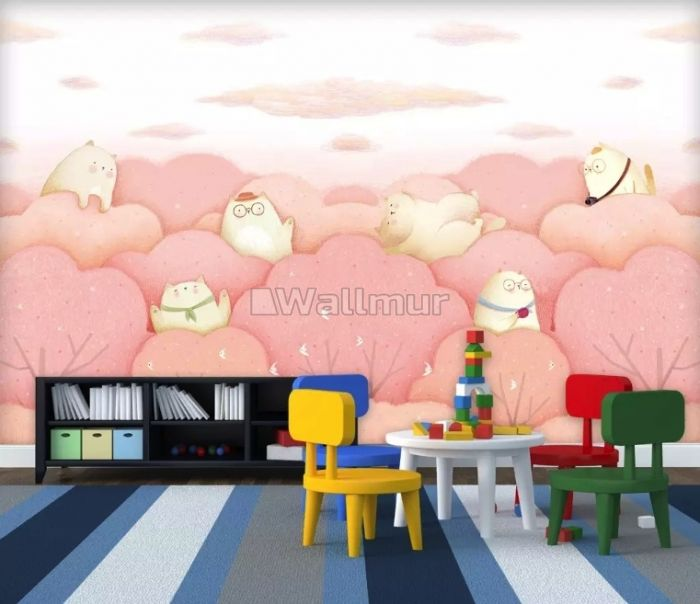 Cartoon Cats on the Pink Trees Wallpaper Mural