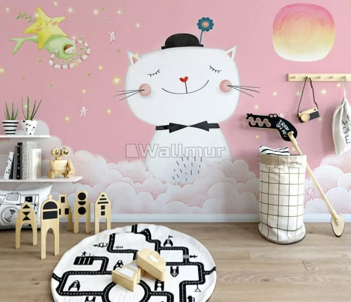 Cartoon Happy Cat on the Pink Clouds Wallpaper Mural