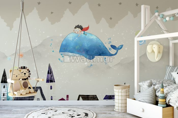 Cartoon Village and Little Child on the Flying Whale Wallpaper Mural