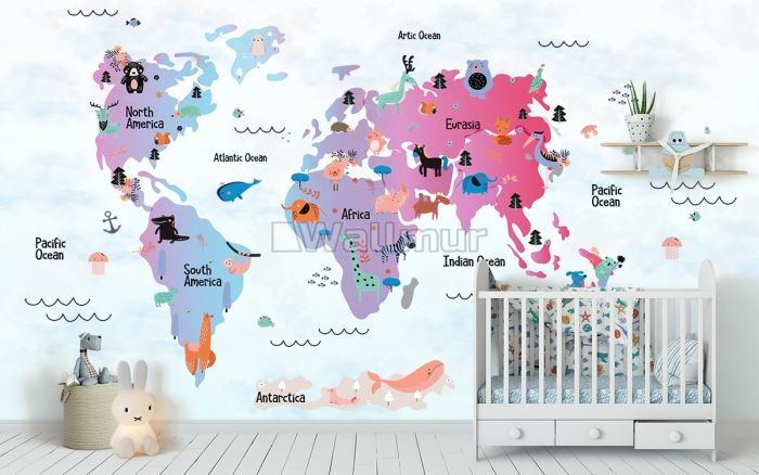 Colorful World Map with Cartoon Animals Wallpaper Mural