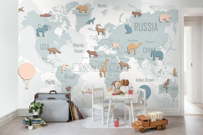 Kids Blue Political World Map with Colorful Animal Silhouette Wallpaper Mural
