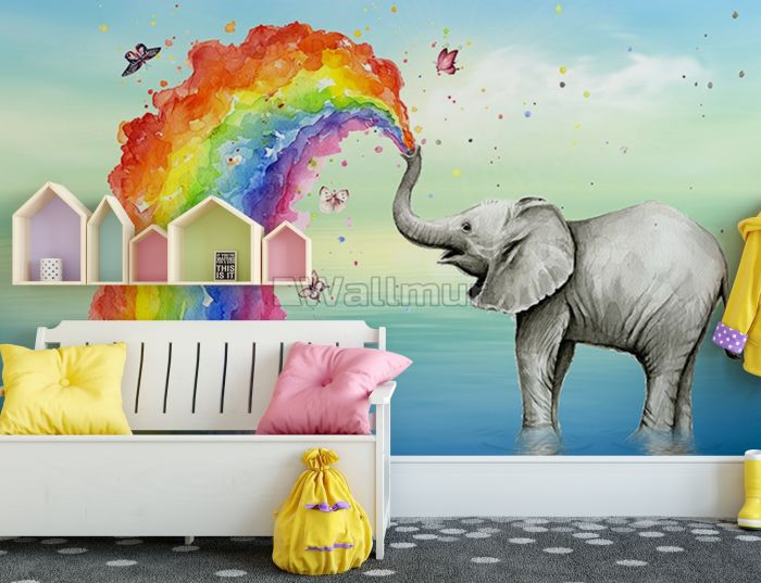 Kids Elephant with Watercolor Rainbow Wallpaper Mural