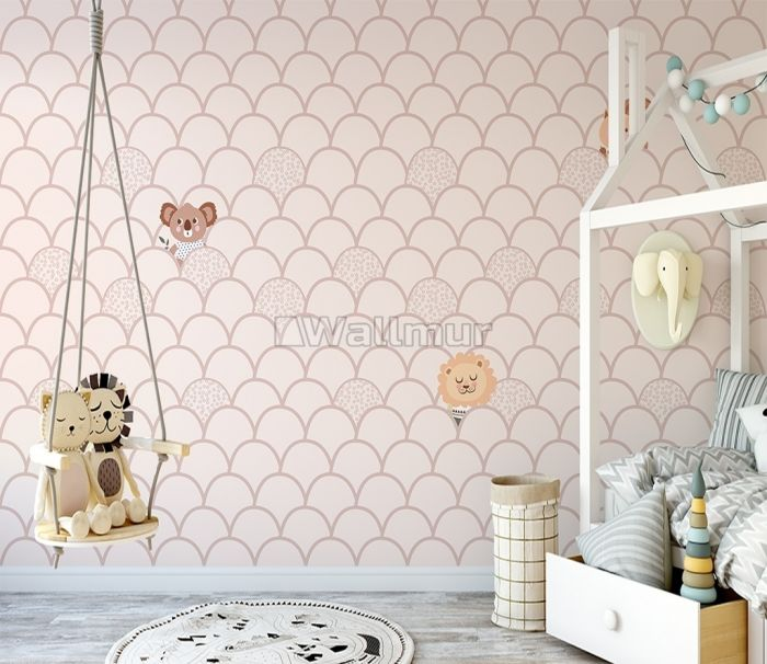 Kids Fish Scale Pattern and Cute Animals Wallpaper Mural