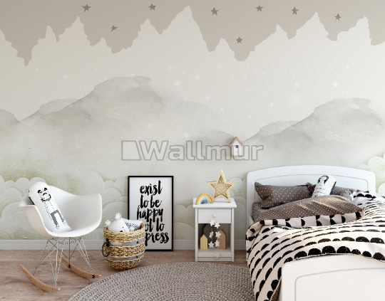 Kids Mountain with Clouds Wallpaper Mural