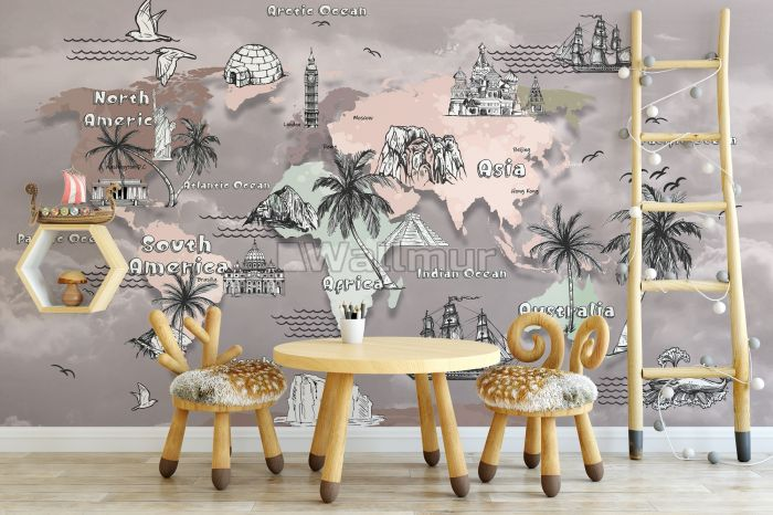 Kids World Map with Charcoal Famous Landmarks Wallpaper Mural