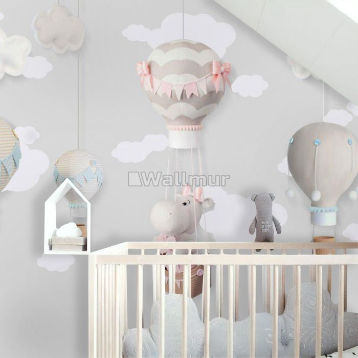 Little Hot Air Balloons with Clouds Wallpaper Mural