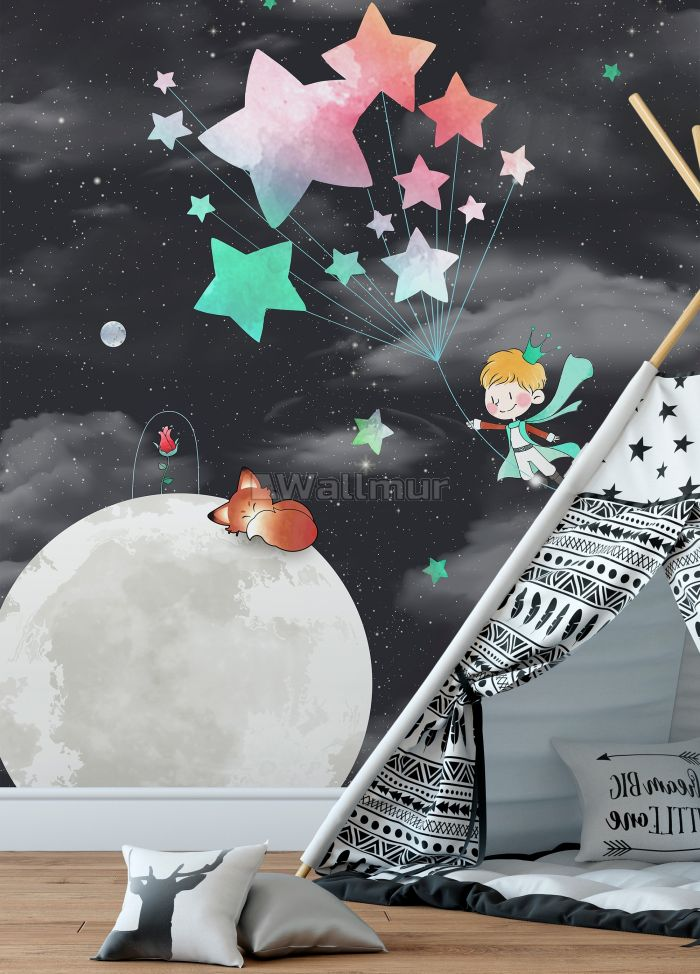 Little Prince and Moon with Watercolor Stars Wallpaper Mural