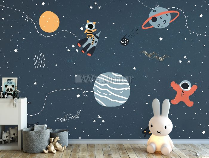 Nursery Space with Colorful Planets and Little Stars Wallpaper Mural
