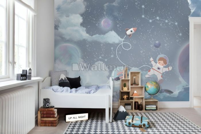 Soft Shining Planets and Astronaut for Boys Space Wallpaper Mural