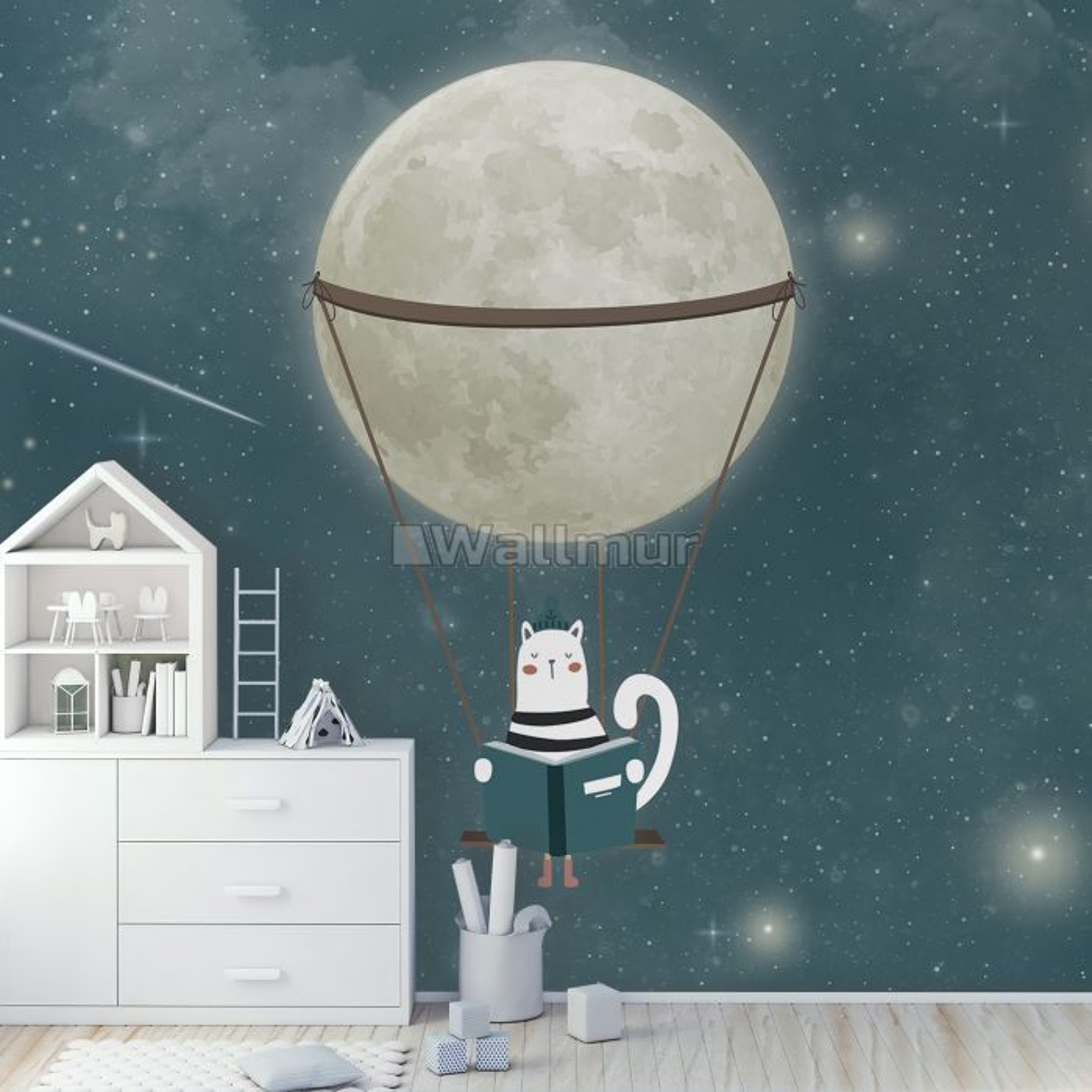 Swinging Cat with Shining Moon Children Wallpaper Mural