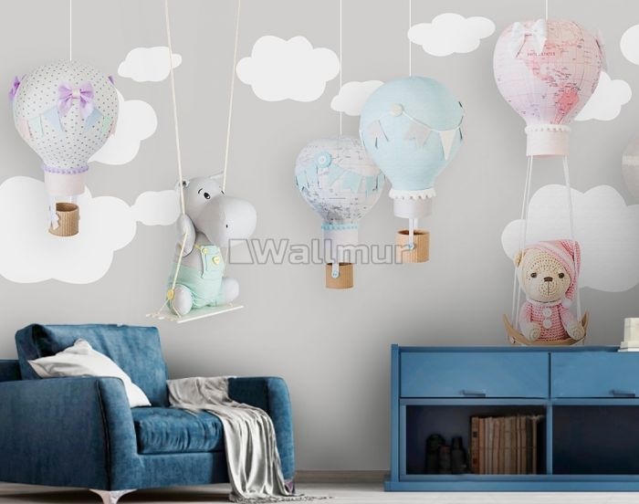 Teddy Bear Clouds and Balloons Wallpaper Mural