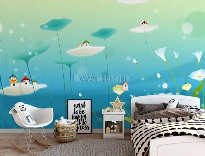 Watercolor Abstract Lotus Flower with Castles Wallpaper Mural
