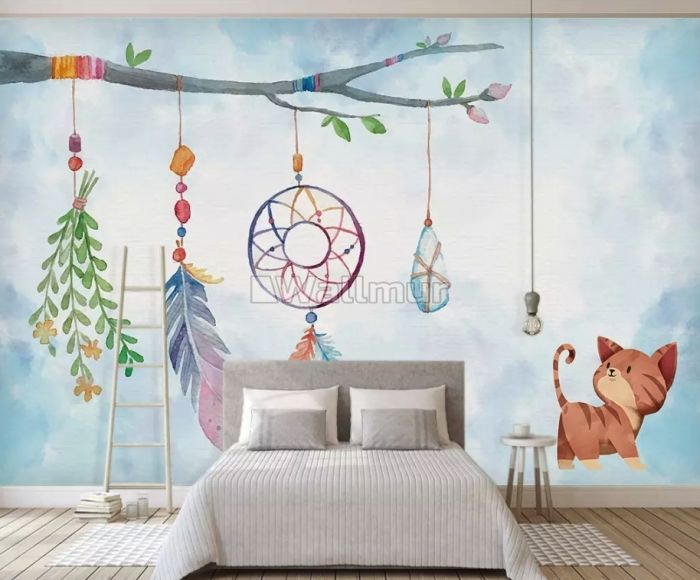 Watercolor Colorful Feather Wallpaper Mural