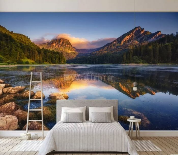 Mountain and Lake Landscape in the Sunrise Wallpaper Mural