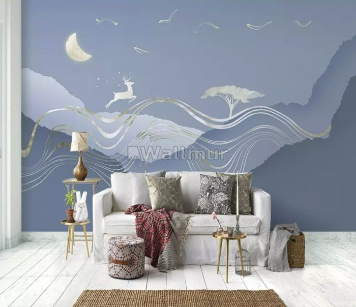 Watercolor Abstract Lines and Horned Deer Wallpaper Mural