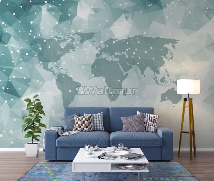 Abstract Map with Geometric Line Wallpaper Mural