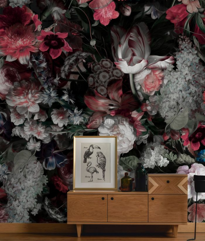 Red Floral Bouqet Wallpaper Mural