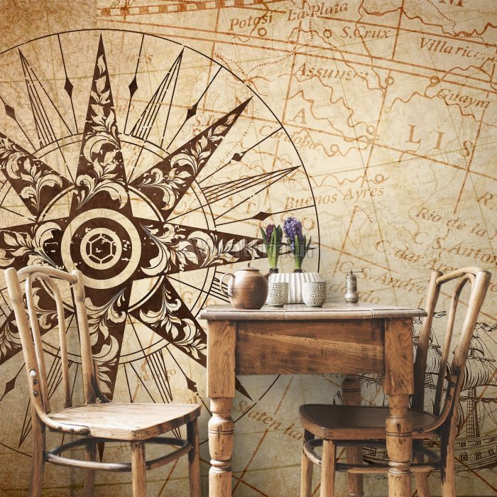 Vintage Map with Compass Wallpaper Mural