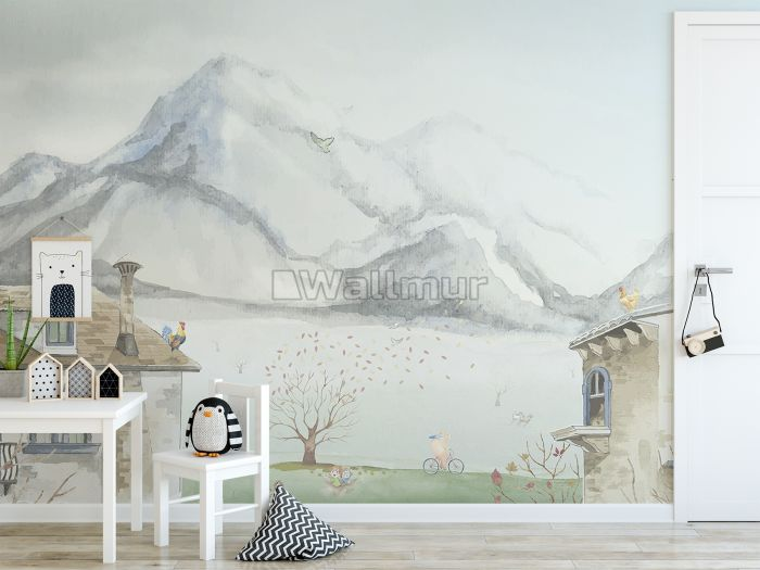 Village Landscape and Snowy Mountain Wallpaper Mural