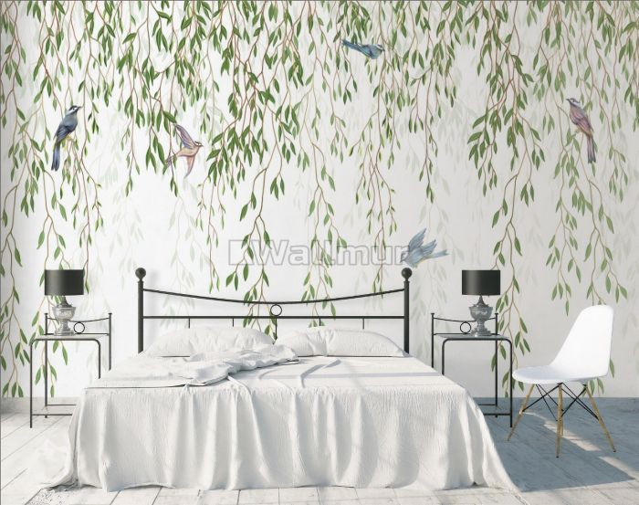 Green Hanging Leaves with Colorful Birds Wallpaper Mural