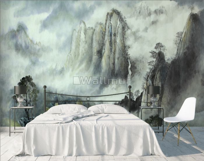Misty Chinese Mountain Landscape and Waterfalls Wallpaper Mural