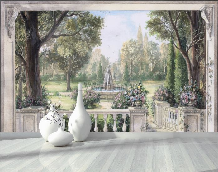 Soft Drawing Forest with Marble Fountain Wallpaper Mural