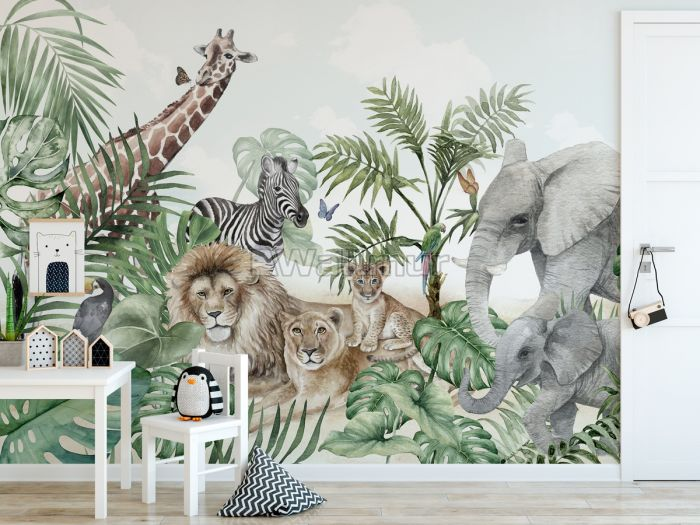 Kids Tropical Animals with Leafs Wallpaper Mural