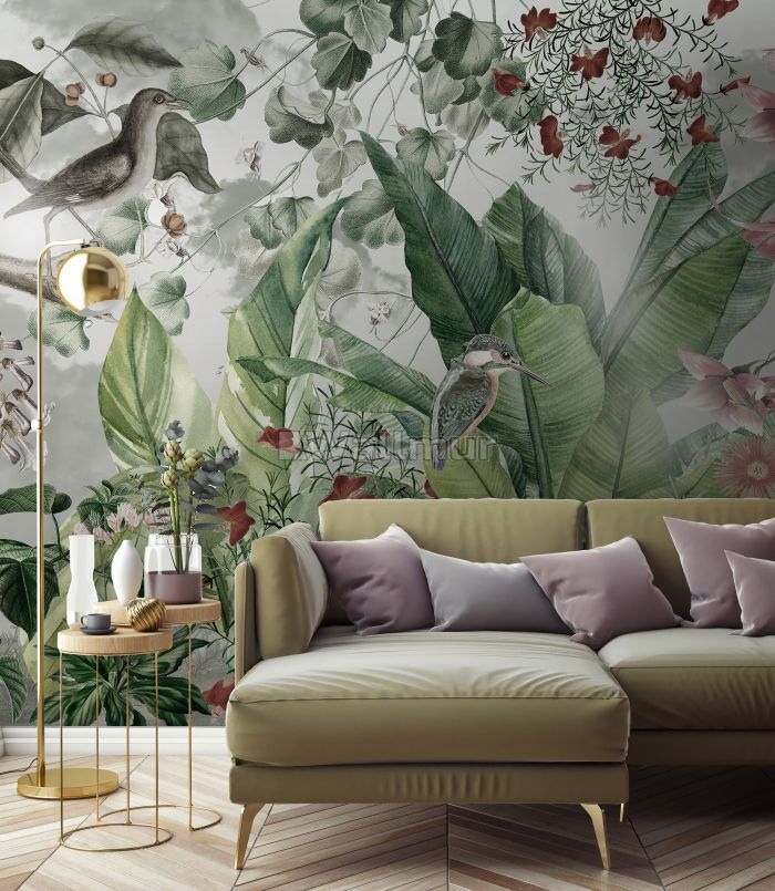 Nostalgic Forest with Colorful Flowers Wallpaper Mural