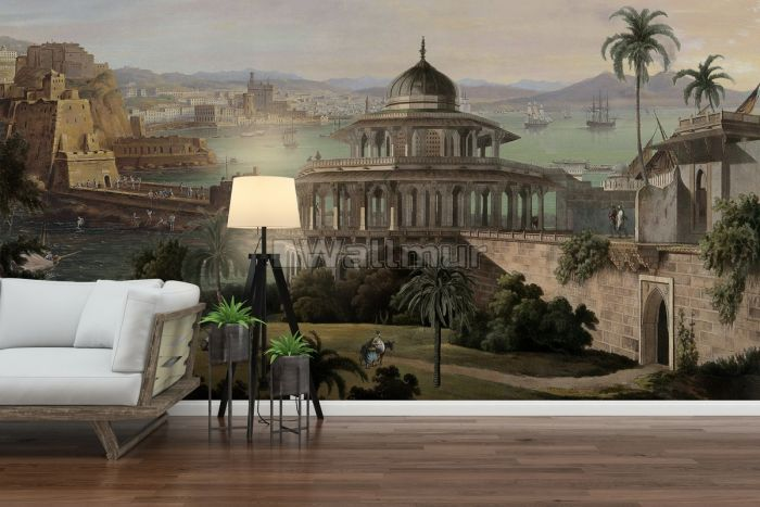 Old City Landscape with Castle Historical Wallpaper Mural