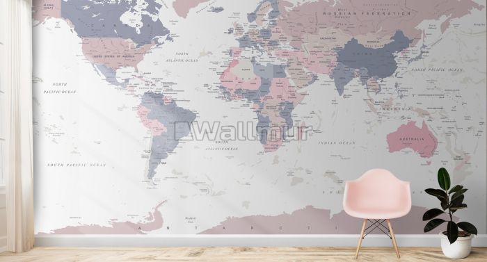 Pink and Purple Political World Map Wallpaper Mural
