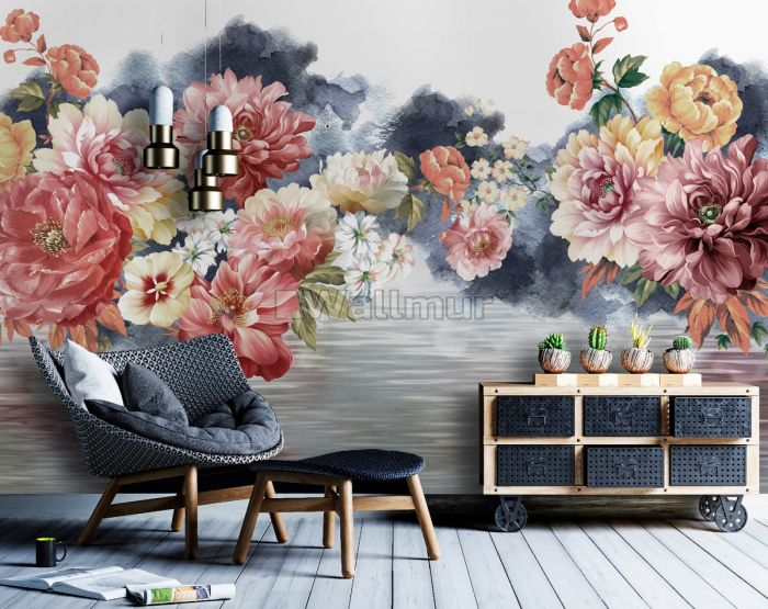 Flowers with World Wallpaper Mural