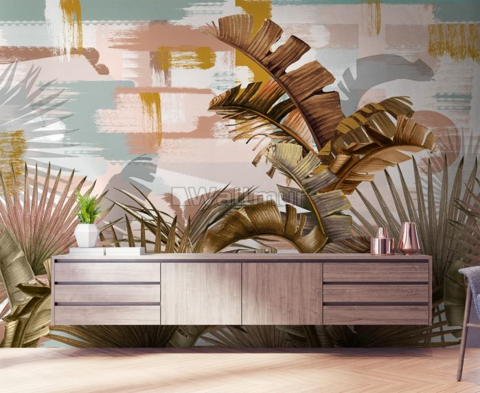 Tropical Leaf Painting with Brush Strokes Wallpaper Mural