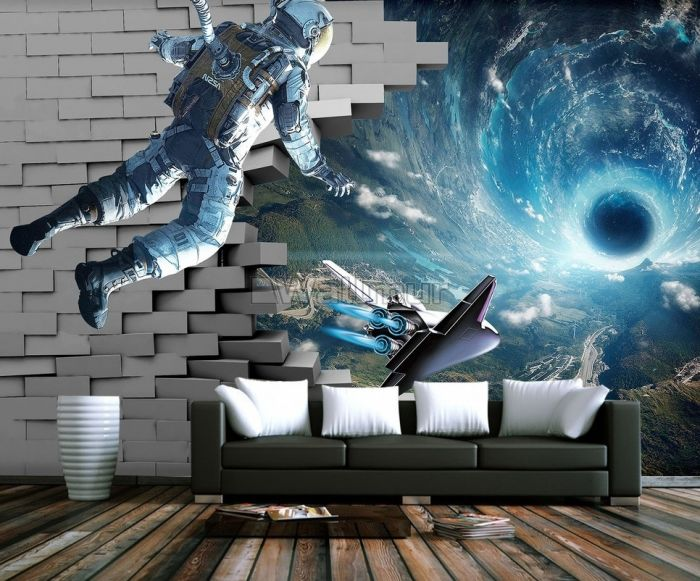 Astronaut with Galaxy Starry Wallpaper Mural