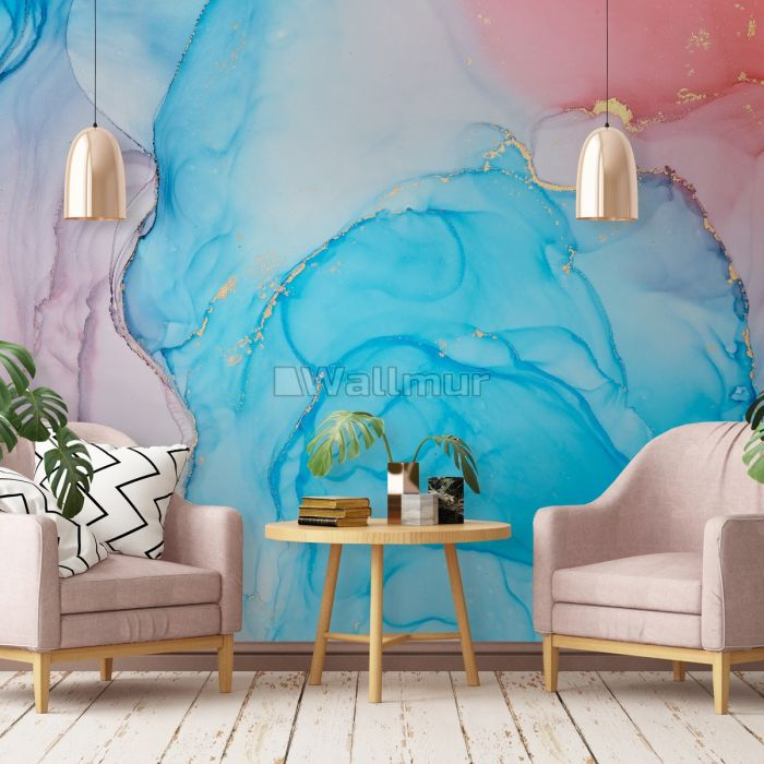 Blue Marble with Red Splash Wallpaper Mural