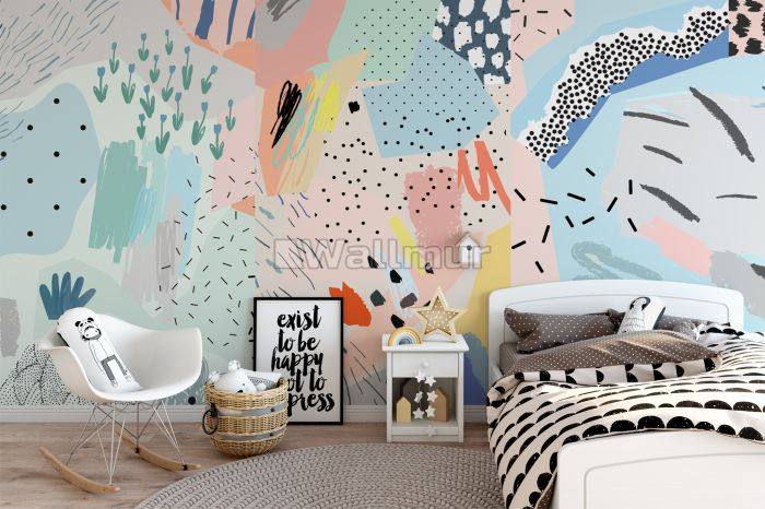 Colorful Abstract Geometric Art Wallpaper Mural