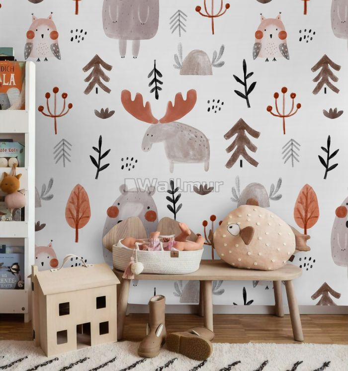 Cute Cartoon Animals with Twigs Wallpaper Mural