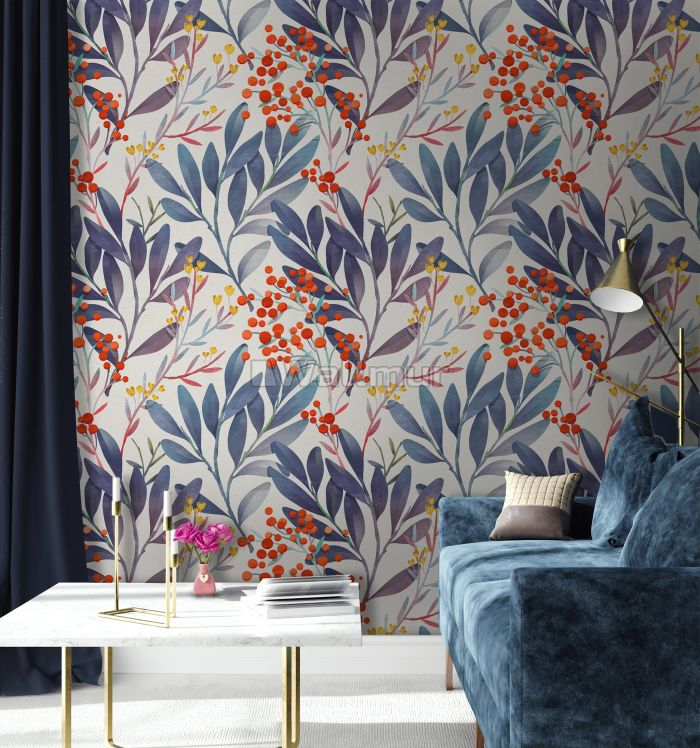 Twigs and Leaves Wallpaper Mural
