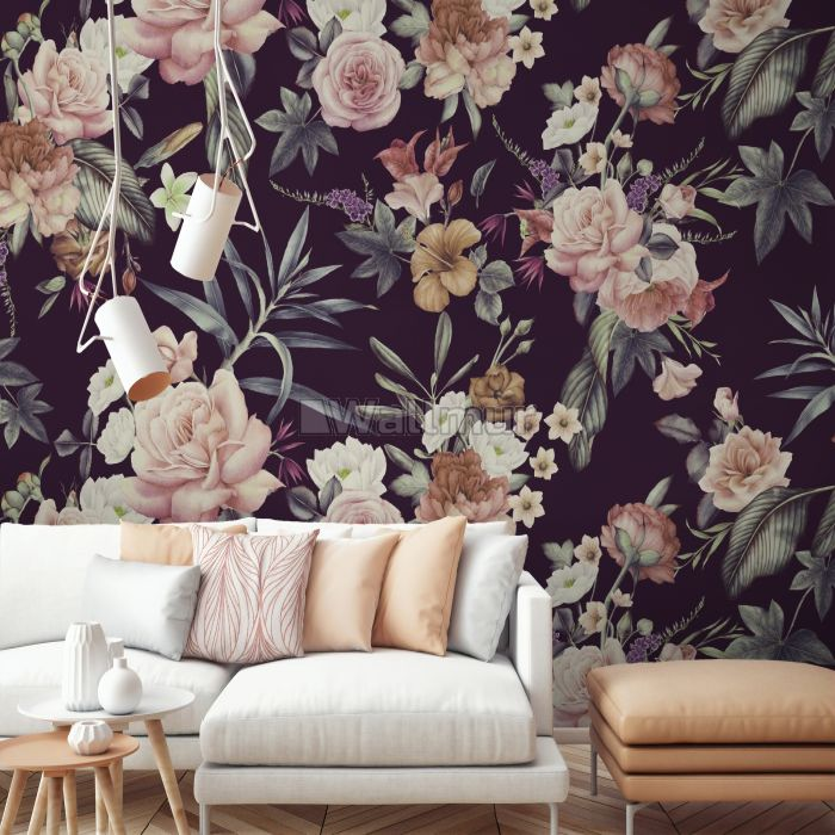 Vintage Dark Floral Bouquet Wallpaper Mural