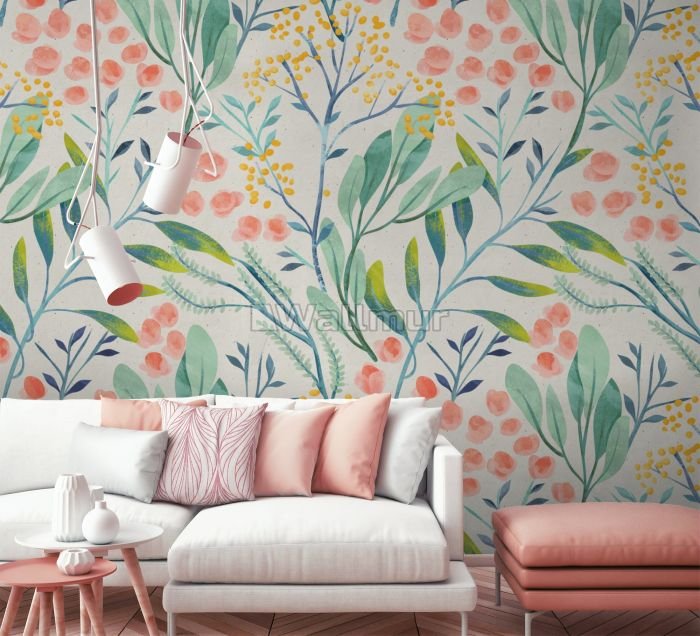 Watercolor Vintage Florals with Botanical Leaves Wallpaper Mural