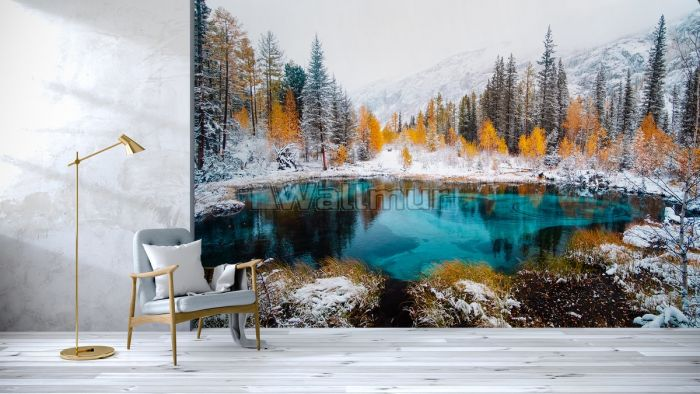 Winter Lake Landscape with Pine Forest Wallpaper Mural