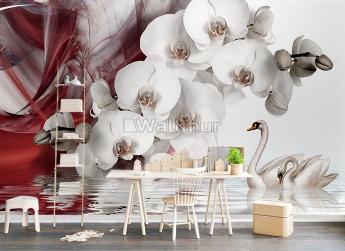 Swan and White Orchid with Red Smoke Pattern Wallpaper Mural