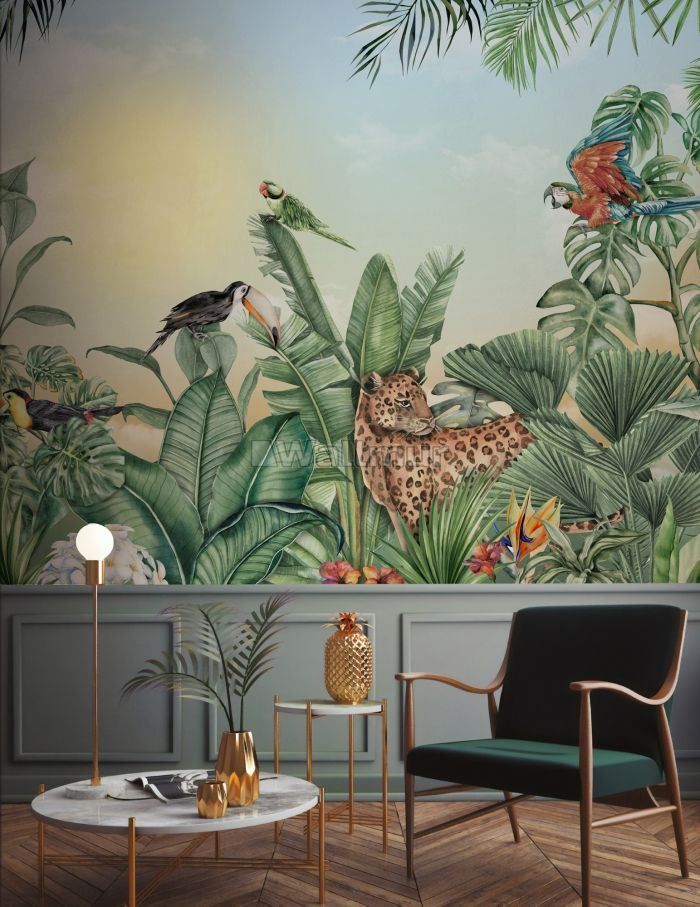 Leopard and Colorful Parrot in the Tropical Forest Wallpaper Mural