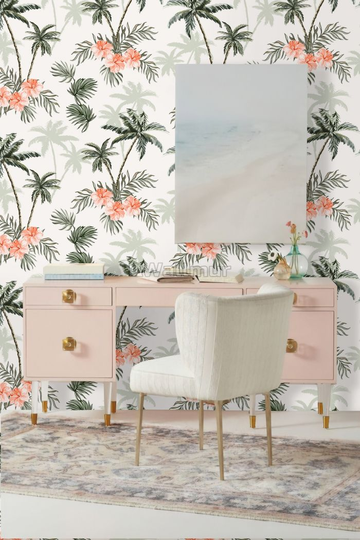 Tropical Palm Tree with Mirabilis Floral Pattern Wallpaper Mural