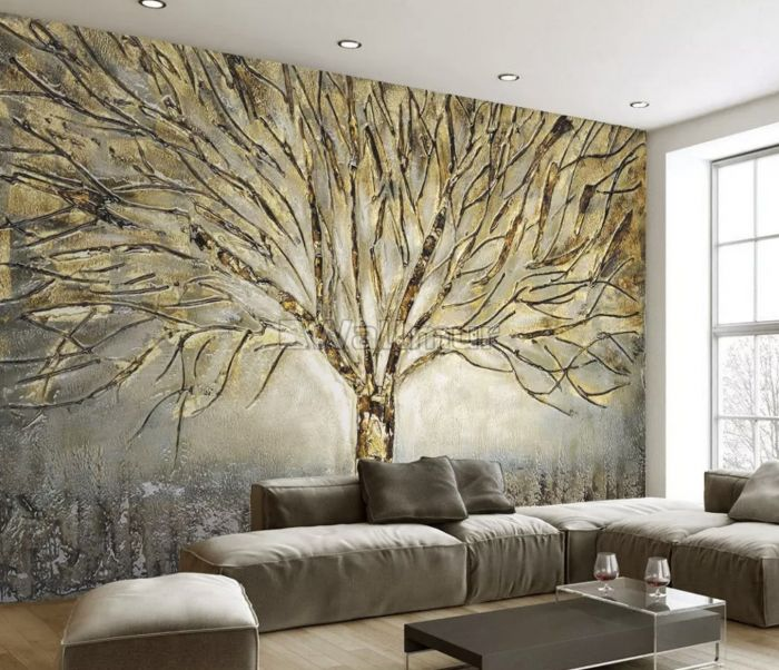 Watercolor Leafless Autumn Trees Wallpaper Mural